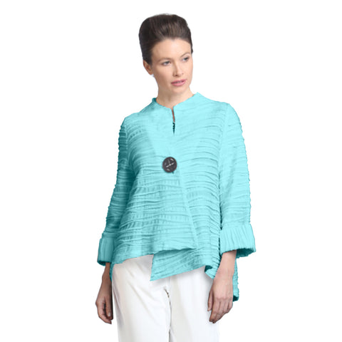 IC Collection Ribbed Asymmetric Jacket in Mint  - 2643J-BL
