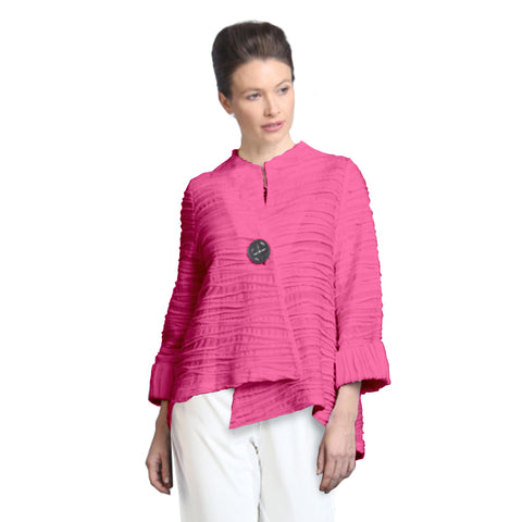 IC Collection Ribbed-Knit Asymmetric Jacket in Pink - 2643J-PK - Size M Only