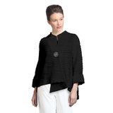 IC Collection Ribbed Knit Asymmetric Jacket in Black - 2643J-BK - Size S Only