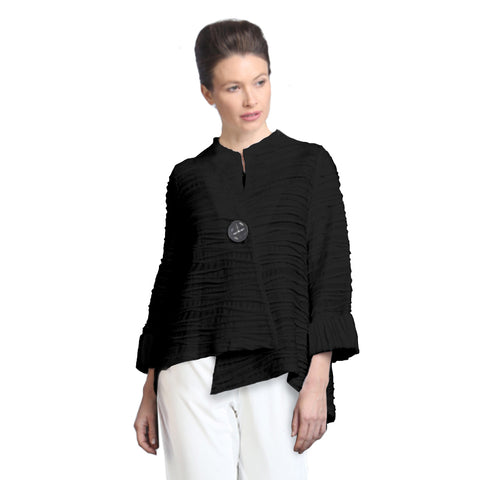 IC Collection Ribbed Knit Asymmetric Jacket in Black - 2643J-BK - Sizes S & XL Only