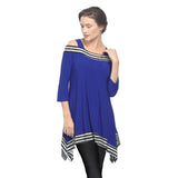 IC Collection Cold Shoulder Stripe-Trim Tunic in Cobalt - 2724T-COB
