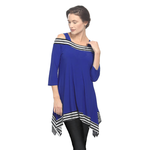 IC Collection Cold Shoulder Stripe-Trim Tunic in Cobalt - 2724T-COB - Sizes S & M Only