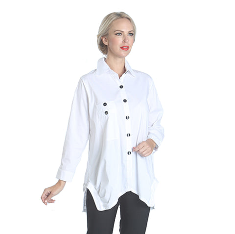 IC Collection Long Pocket Shirt/Blouse in White  - 2771B