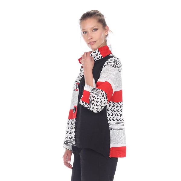 Moonlight Mixed-Media Button Front Jacket - 2842-RED
