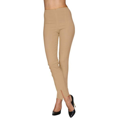 Mesmerize Pants with Front Ankle Slits and Front Zipper in Warm Taupe - MA21-WTP