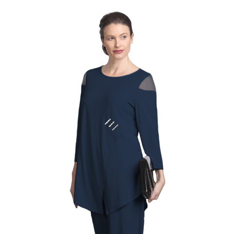 IC Collection Cold Shoulder Tunic in Navy - 2953T-NVY