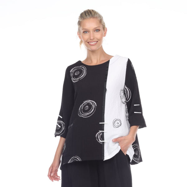 Moonlight Swirl Print Relaxed Top in Black/White - 2978