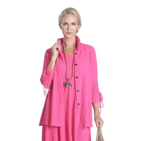 IC Collection Soft Textured Swing Shirt in Pink - 2984B-PNK