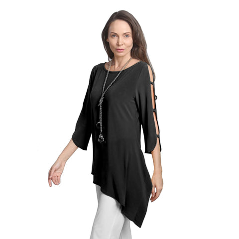 IC Collection Solid Ladder Sleeve Tunic in Black - 2990T-BLK - Size XL Only