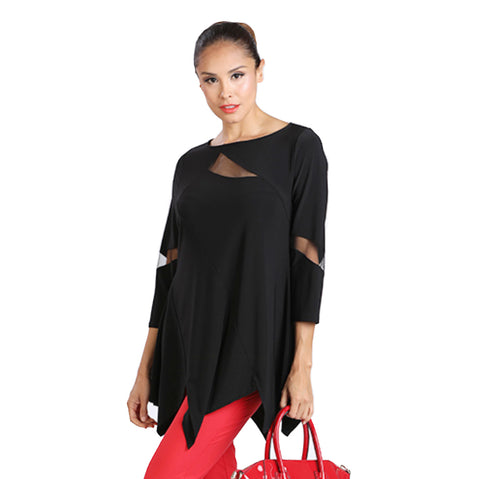 IC Collection Mesh Cut-out Tunic in Black - 2991T-BLK - Sizes S & L Only