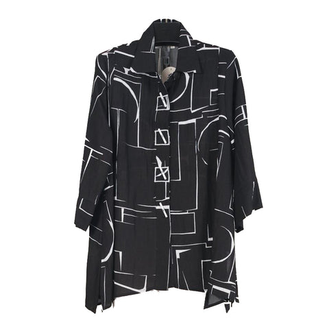 Moonlight by Y&S Swing Shirt in Black & White - 2991-BLK