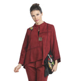 IC Collection Faux Suede Asymmetric Jacket in Wine - 3993J-WNE - Size S Only