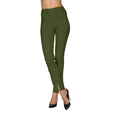 Mesmerize Pants with Front Ankle Slits and Front Zipper in Forest - MA21-FST