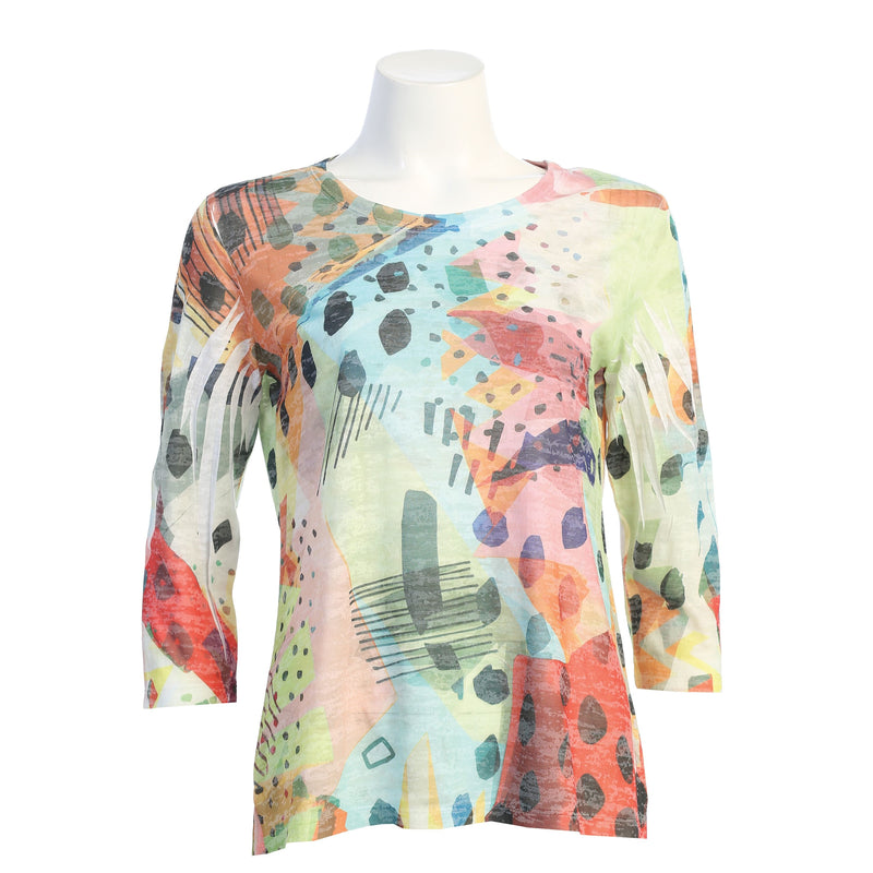 "Jess & Jane ""Pop Art"" Abstract Print Burnout Top - 44-1512"