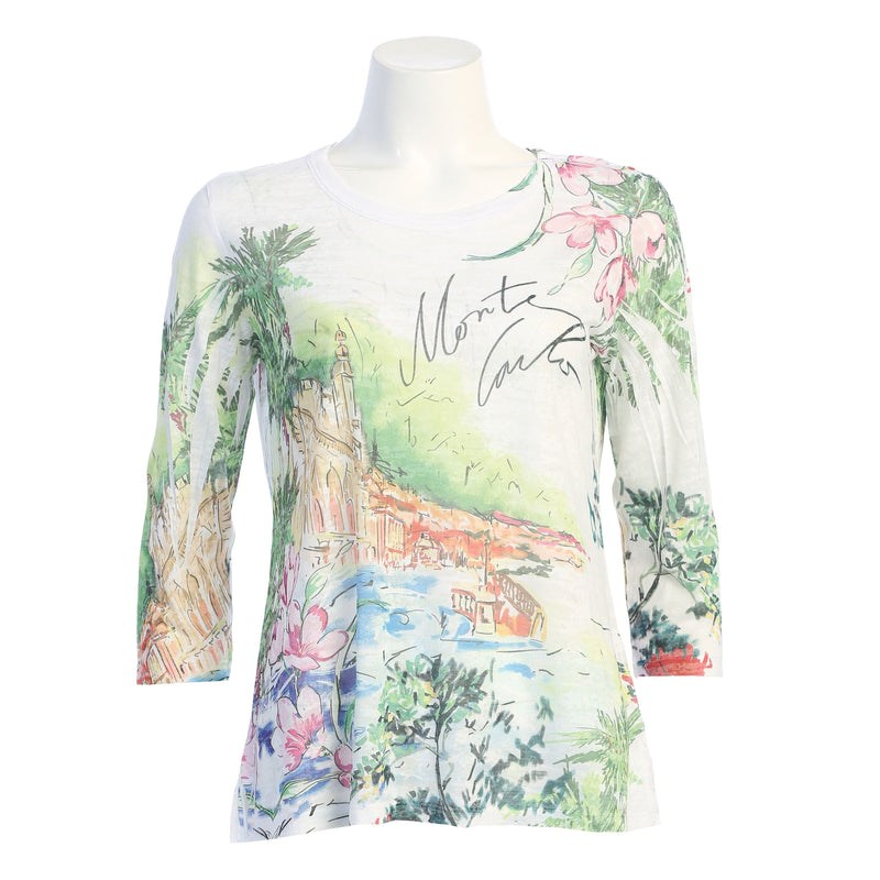 "Jess & Jane ""Monte Carlo"" Abstract Print Burnout Top - 44-1593"
