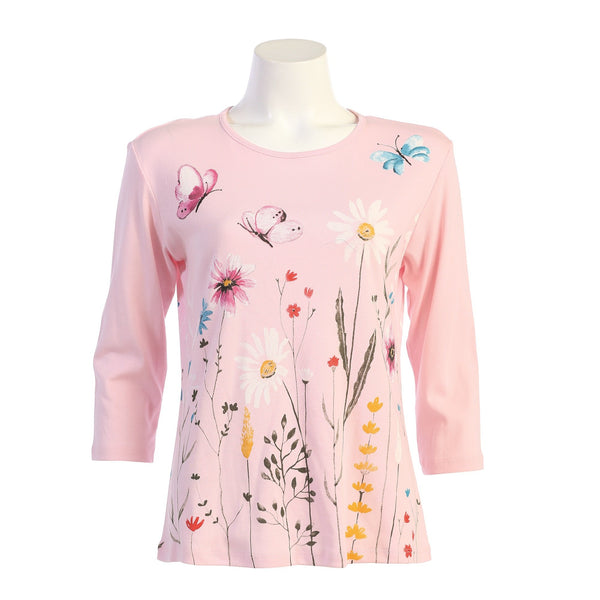 "Jess & Jane ""Fantasia"" Abstract Floral Print Top in Pink - 14-1559"