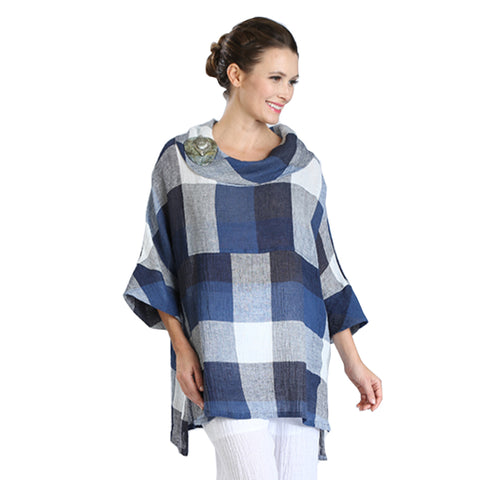 IC Collection Checkered-Print Linen Tunic Top in Navy/White/Blue - 3001T