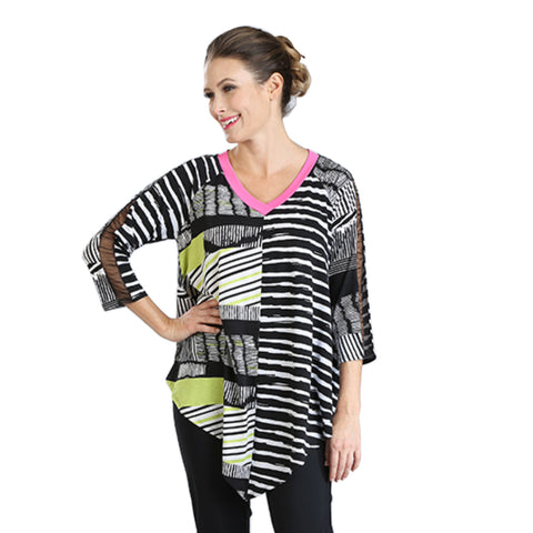 IC Collection Mixed Stripe V-Neck Tunic in Multi - 3002T