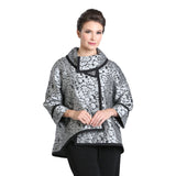 IC Collection Jacquard High-Low Jacket in Gray/Black - 3004J-GRY