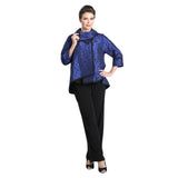 IC Collection Jacquard High-Low Jacket in Blue/Black - 3004J-BLU