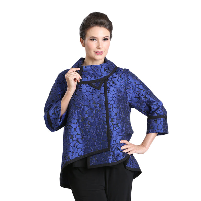 IC Collection Jacquard High-Low Jacket in Blue/Black - 3004J-BLU - Sizes S, M & XL