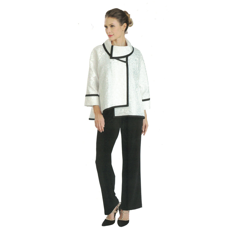 IC Collection Jacquard Asymmetric Jacket in White W/ Black Trim - 3004J-WHT