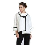 IC Collection Jacquard High-Low Jacket in White/Black - 3004J-WHT