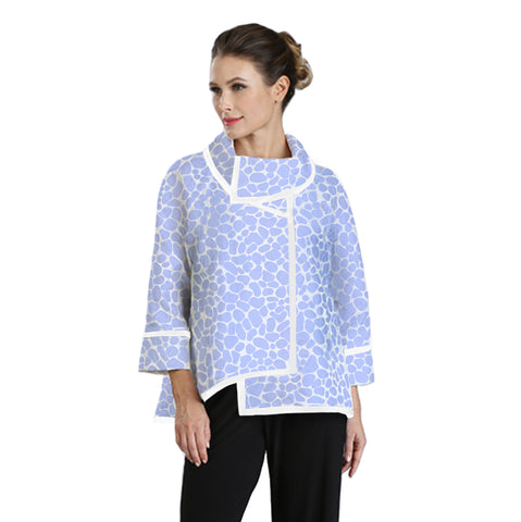 IC Collection Jacquard High-Low Jacket in Sky/White - 3004J-SKY