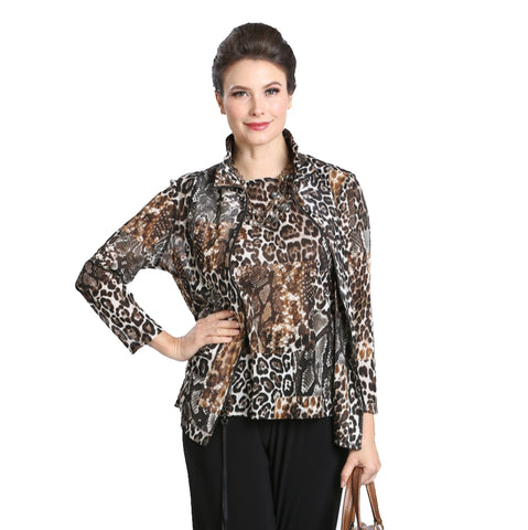 IC Collection Zip-Front Animal Print Jacket Set - 3008JT- Sizes S & XXL Only