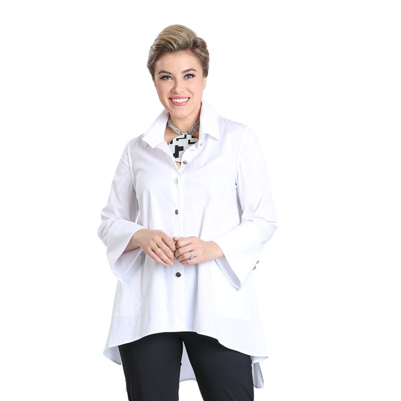 IC Collection Button Front High-Low Blouse in White - 3013B-WHT