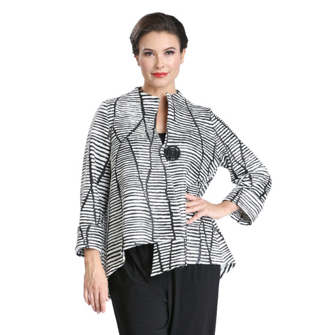 IC Collection Textured Striped Asymmetric Jacket in Black/White ♥ 3014J -BW