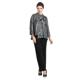 IC Collection Textured Striped Asymmetric Jacket in Black /Silver ♥  3014J -SLV