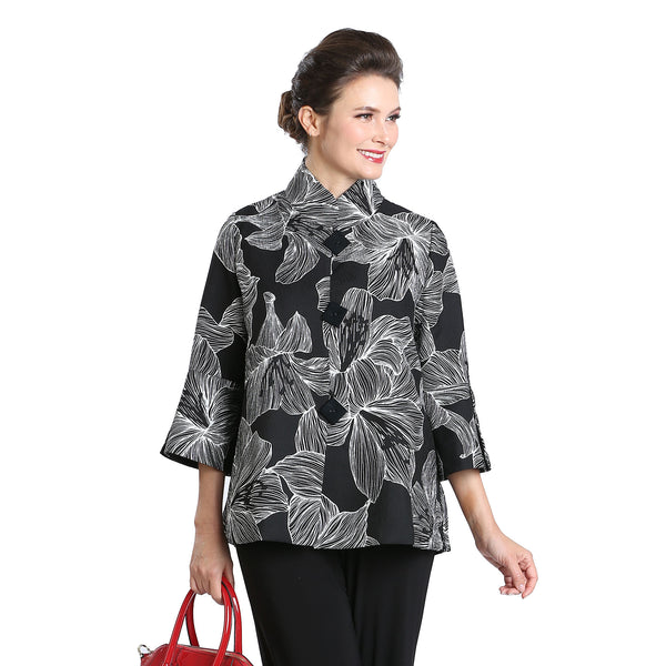 IC Collection Button Front Floral Print Jacket in Black/White - 3022J-BLK