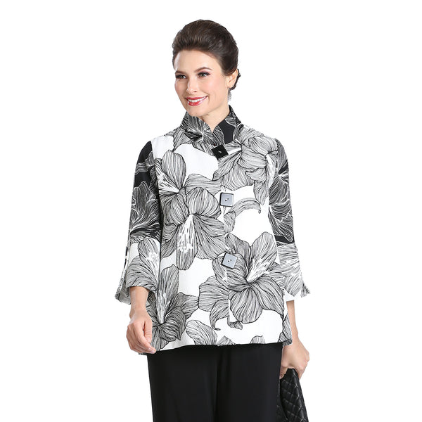 IC Collection Button Front Floral Print Jacket in White/Black - 3022J-WHT - Sizes M Thru XL