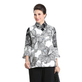 IC Collection Button Front Floral Print Jacket in White/Black - 3022J-WHT