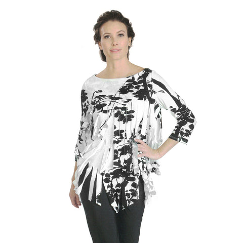 IC Collection Floral Print Tiered Fringe Tunic Top in Black/White - 3028T