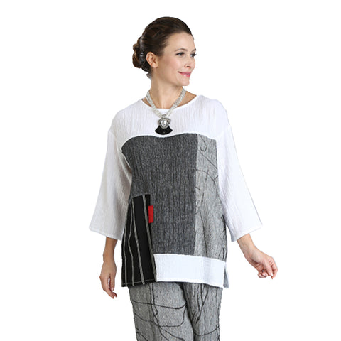 IC Collection Colorblock Mixed Media Tunic in White/Black/Red/Gray - 3049T-WT