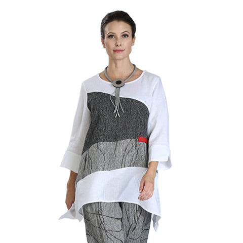 IC Collection Mixed Media Colorblock Tunic - 3030T-WHT - Sizes M & L Only