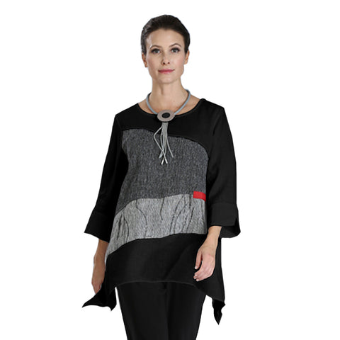 IC Collection Mixed Media Colorblock Tunic - 3030T-BLK