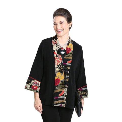 IC Collection Mixed Media Floral Kimono Jacket in Black - 3033J-BLK