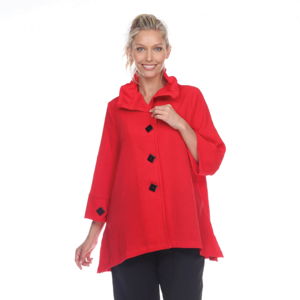 Moonlight by Y&S Button Front Jacket w/Adjustable Collar in Red - 3035 SOL