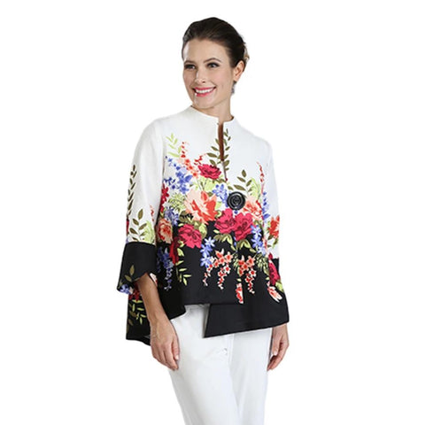 IC Collection Asymmetric Floral Jacket in Multi - 3035J - Size S Only