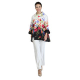 IC Collection Floral Print High-Low Long Asymmetric Jacket - 3039J - Size S Only