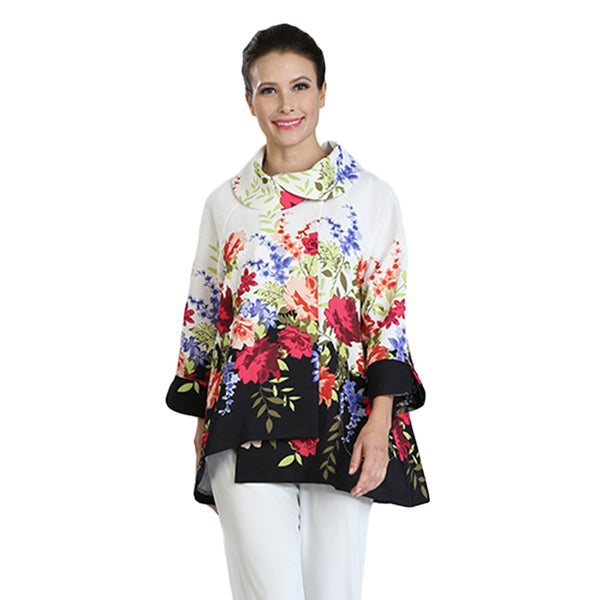 IC Collection Floral- Print Long Asymmetric Jacket - 3039J - Size S Only