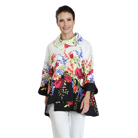 IC Collection Floral Print High-Low Long Asymmetric Jacket - 3039J