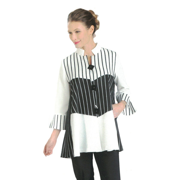 IC Collection Striped Stand-Collar Jacket in White/Black - 3040J-WT