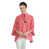 IC Collection Ribbed Asymmetric Jacket w/Trumpet Sleeves in Coral - 3042J-COR