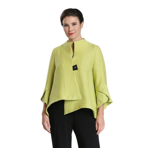IC Collection Ribbed Trumpet Sleeves Jacket in Lime - 3042J-LM - Sizes S, L & XL