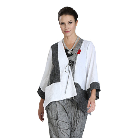 IC Collection Mixed Media Asymmetric Jacket - 3044J- WT - Sizes S & XXL Only