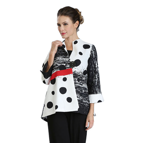 IC Collection High-Low Polka Dot Jacket - Black/White/Red - 3058J